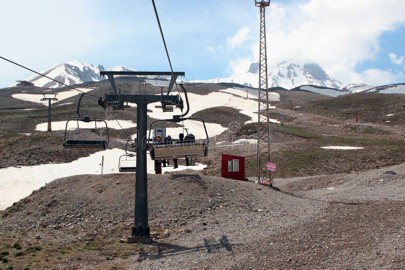 Воздушный лыж-подъем на держатель Erciyes в центральной Анатолии, Турции стоковое изображение
