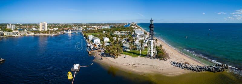 Воздушный маяк Флорида входа Hillsboro панорамы стоковая фотография rf