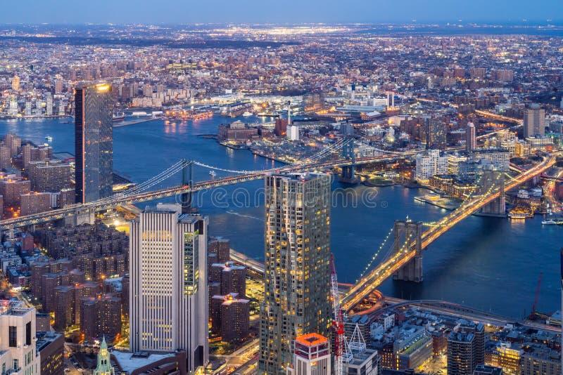 Воздушный мост Нью-Йорк Бруклина и Манхэттена стоковое фото
