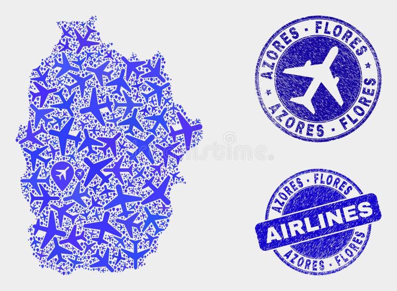 Воздушный остров Flores вектора состава уплотнений карты и Grunge Азорских островов иллюстрация вектора