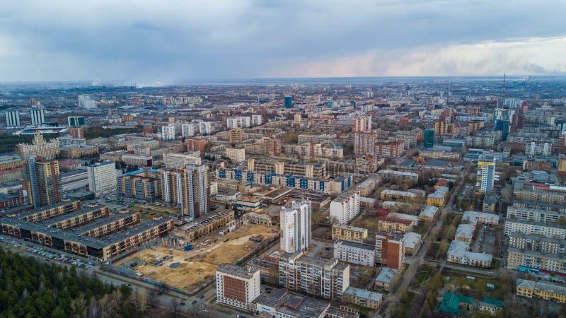 Воздушный панорамный взгляд города Челябинска, пакостного города стоковые изображения rf