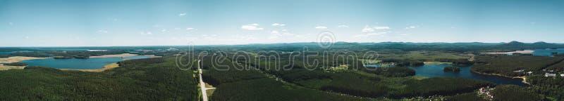 Воздушный панорамный взгляд земли озер, России, южного Ural стоковые фотографии rf