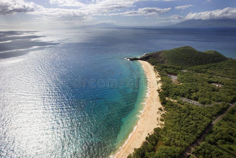 воздушный пляж maui стоковые фотографии rf