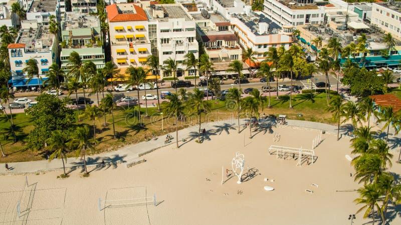 Воздушный привод океана пляжа мышцы парка Miami Beach Lummus стоковые фотографии rf