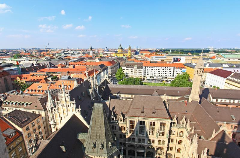 воздушный разбивочный взгляд munich города стоковое фото rf