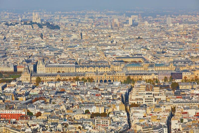 Воздушный сценарный взгляд центрального Парижа стоковые фото