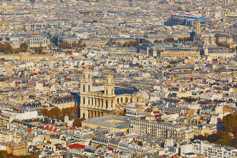 Воздушный сценарный взгляд центрального Парижа стоковая фотография