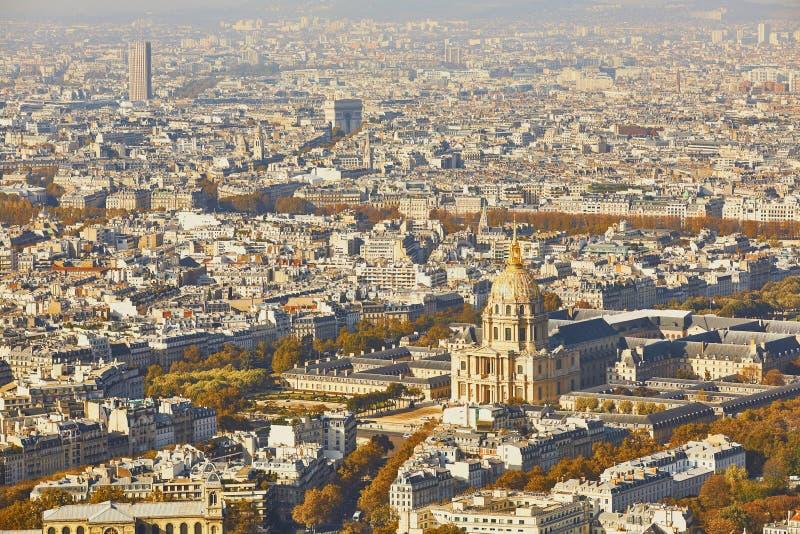 Воздушный сценарный взгляд центрального Парижа стоковое фото rf