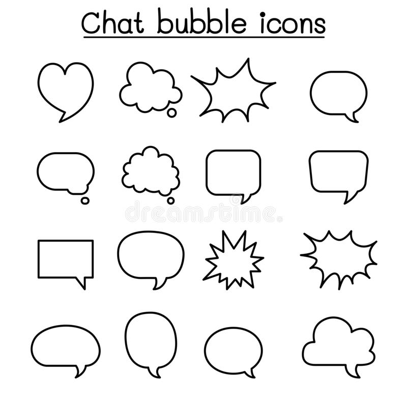 Воздушный шар болтовни, пузырь речи, говорящ, говоря набор значка в тонкой линии стиле иллюстрация штока