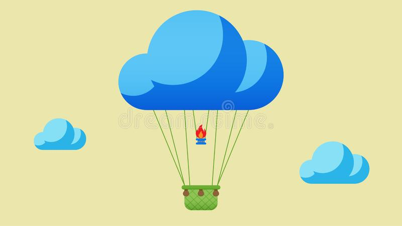 Воздушный шар в небе с облачным фоном стоковое фото rf
