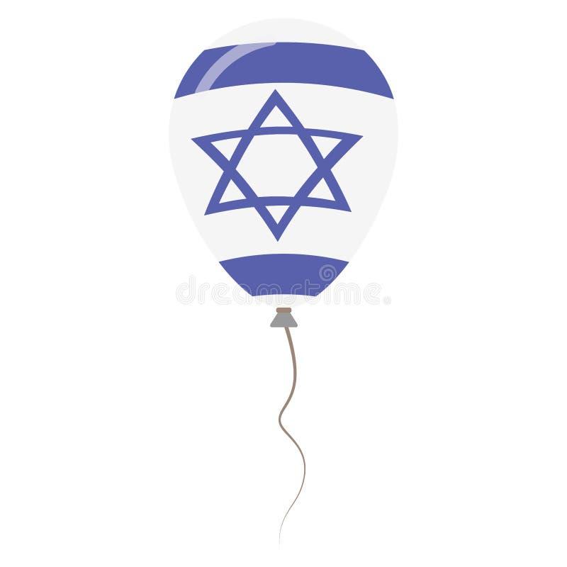 Воздушный шар государства Израиля национальными изолированный цветами иллюстрация вектора