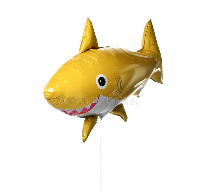 Воздушный шар желтых рыб акулы металлический изолированный на белизне стоковое изображение rf