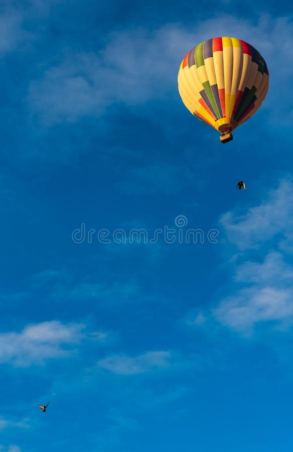 Воздушный шар и голуби стоковое изображение rf