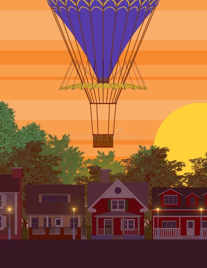 Воздушный шар поднимает над домом иллюстрация вектора