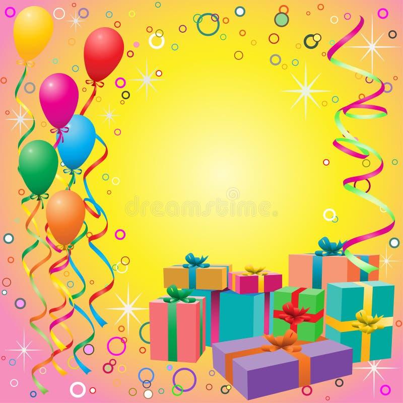 воздушный шар предпосылки кладет подарок в коробку иллюстрация штока