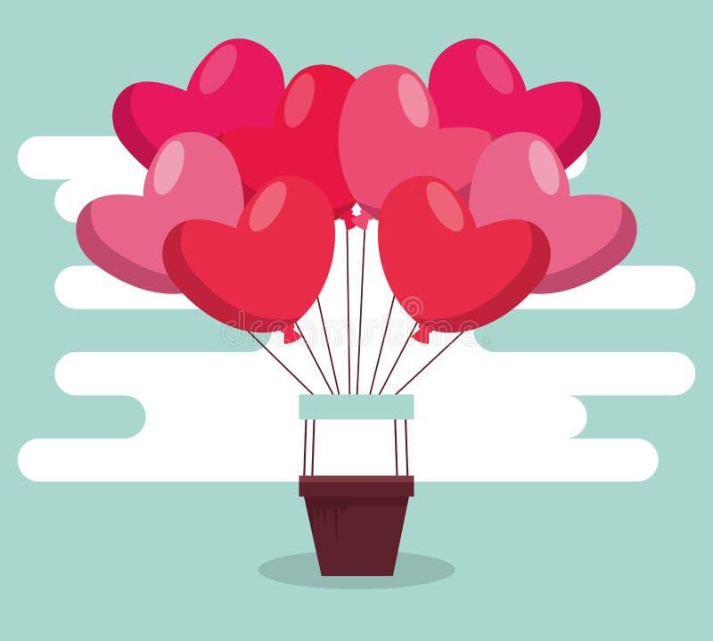 Воздушный шар сердец к торжеству дня Валентайн иллюстрация вектора
