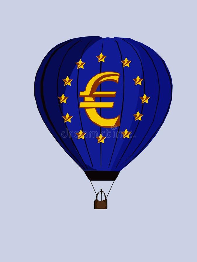 Воздушный шар с евро знака, изображением вектора иллюстрация вектора