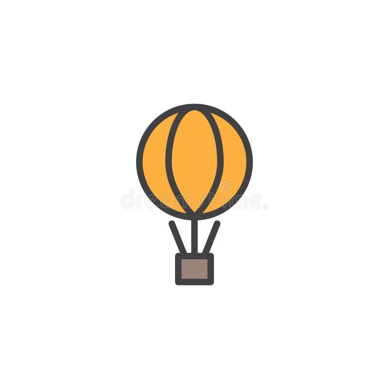 Воздушный шар с коробкой пакета заполнил значок плана бесплатная иллюстрация