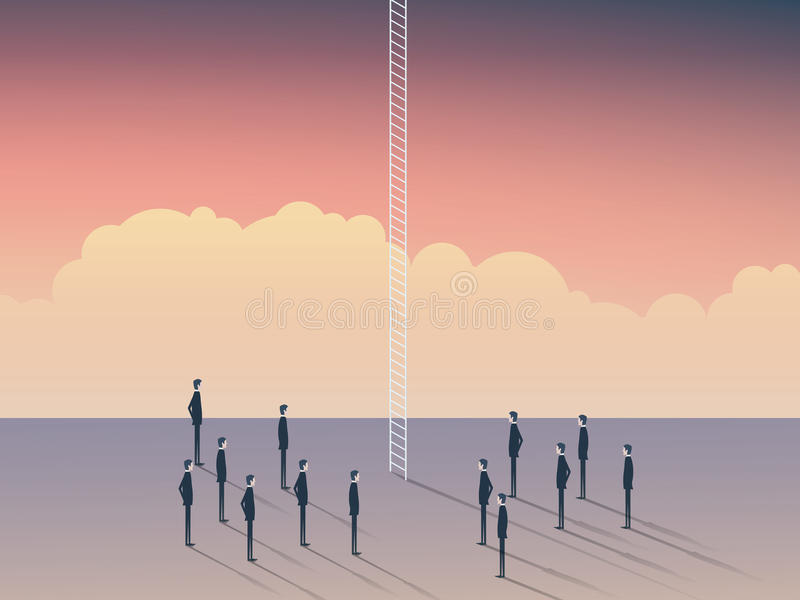 Возможности дела и карьеры, корпоративная лестница Бизнесмены стоя, что взобрались над облаками, небом предел бесплатная иллюстрация
