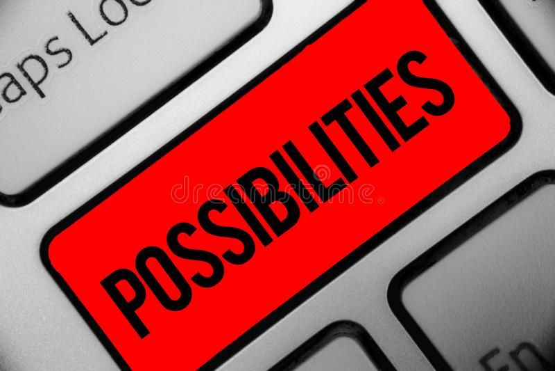 Возможности сочинительства текста почерка Вещи смысла концепции которые могут случиться или положение случая быть возможным gre к стоковое изображение