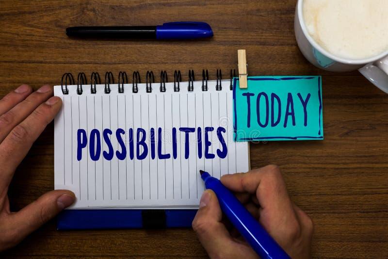 Возможности текста почерка Вещи смысла концепции которые могут случиться или положение случая быть возможным блокнотом ручек отме стоковое фото