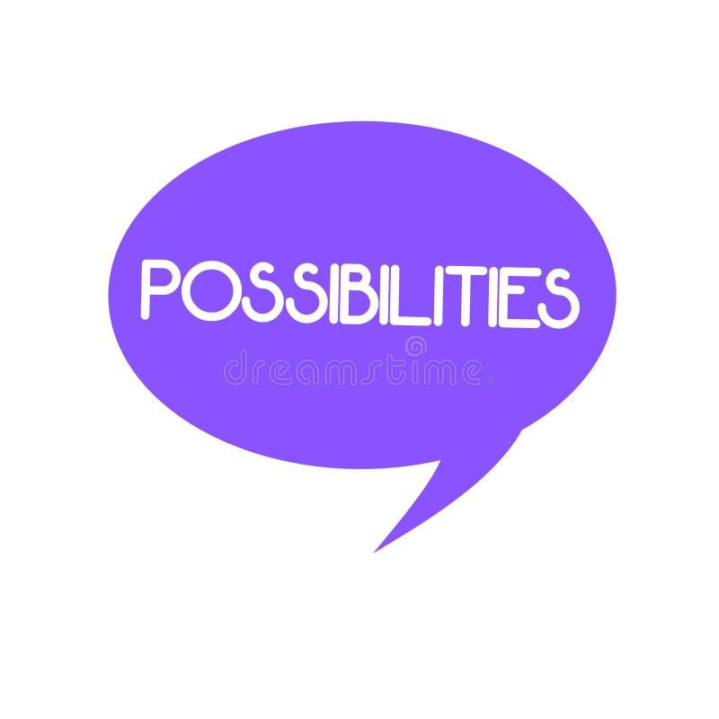Возможности текста почерка Концепция знача другие возможности вариантов которые могут возникнуть потенциальные клиенты иллюстрация штока