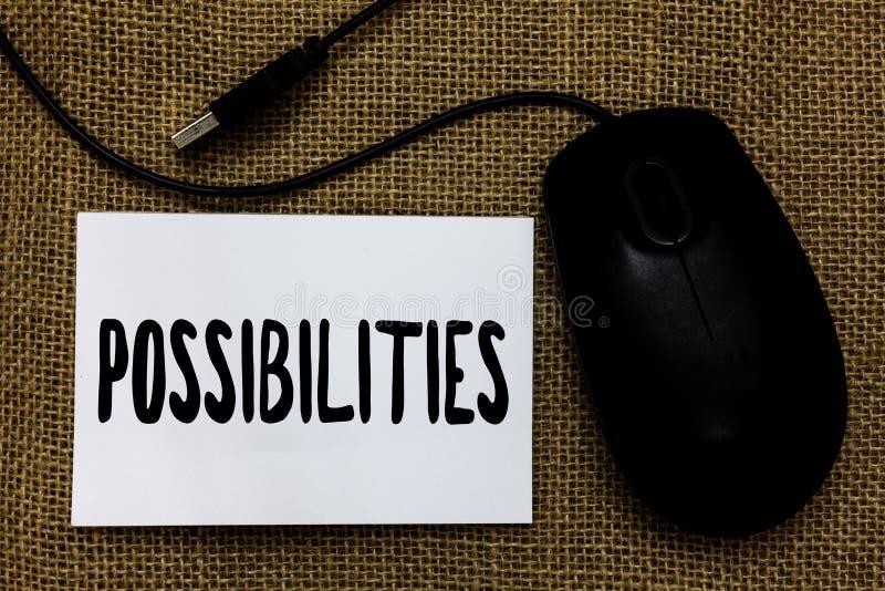 Возможности текста сочинительства слова Концепция дела для вещей которые могут случиться или положение случая быть возможным кабе стоковое фото rf