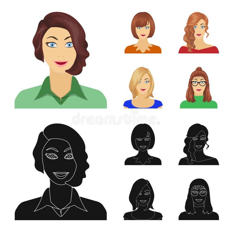 Возникновение женщины с hairdo, стороной девушки Сторона и значки собрания возникновения установленные в шарже, черном бесплатная иллюстрация