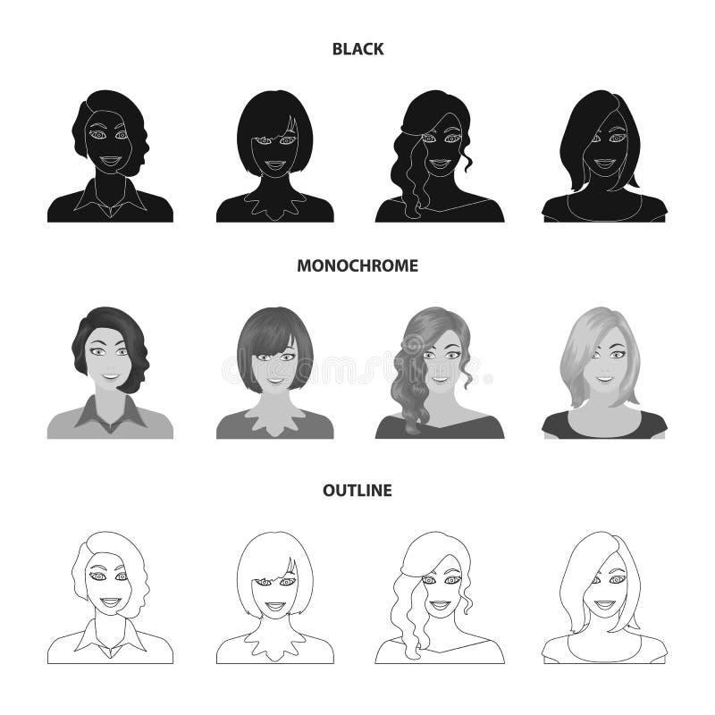 Возникновение женщины с hairdo, стороной девушки Сторона и значки собрания возникновения установленные в черноте иллюстрация штока