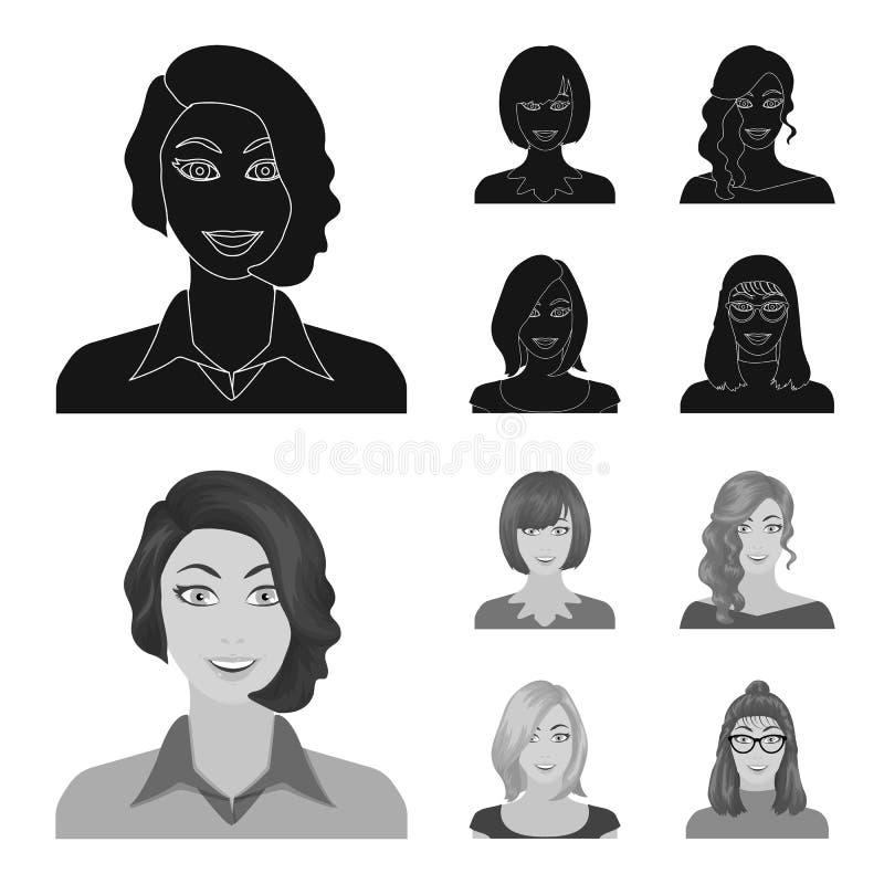 Возникновение женщины с hairdo, стороной девушки Сторона и значки собрания возникновения установленные в черноте, monochrom иллюстрация вектора