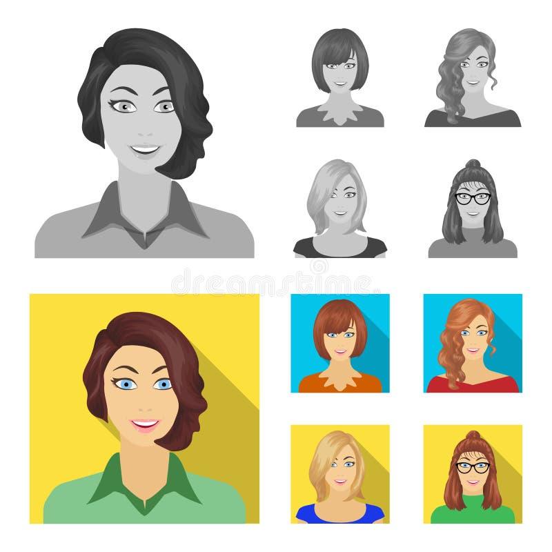 Возникновение женщины с hairdo, стороной девушки Сторона и значки собрания возникновения установленные в monochrome, плоском иллюстрация штока