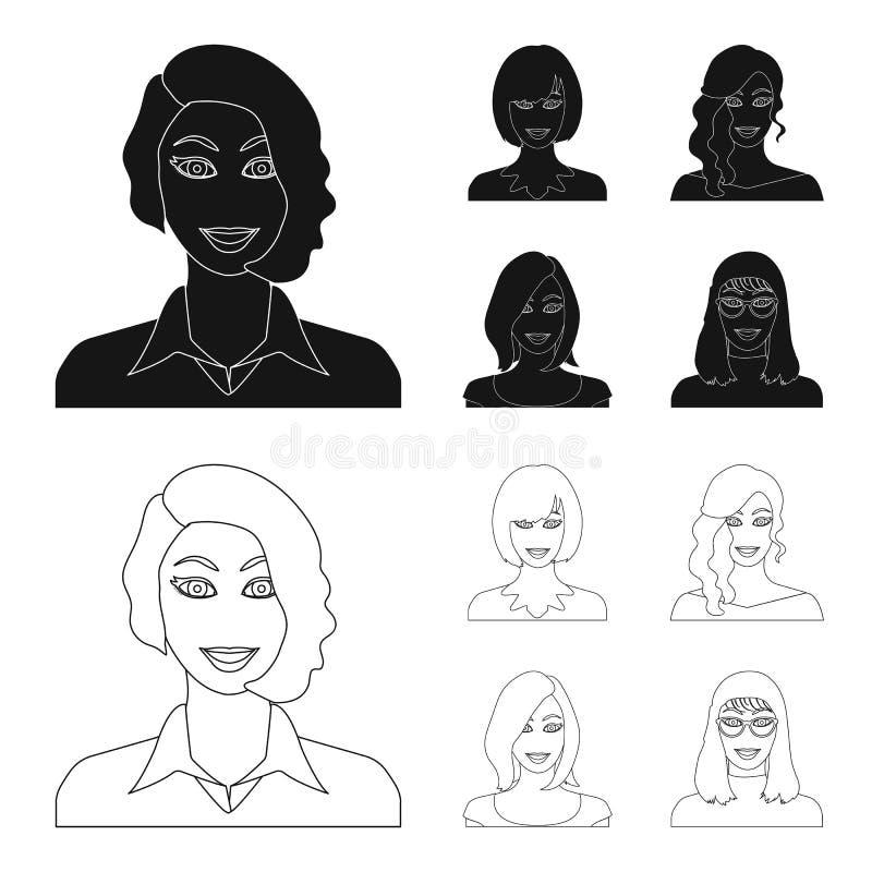 Возникновение женщины с hairdo, стороной девушки Сторона и значки собрания возникновения установленные в черноте, плане иллюстрация штока
