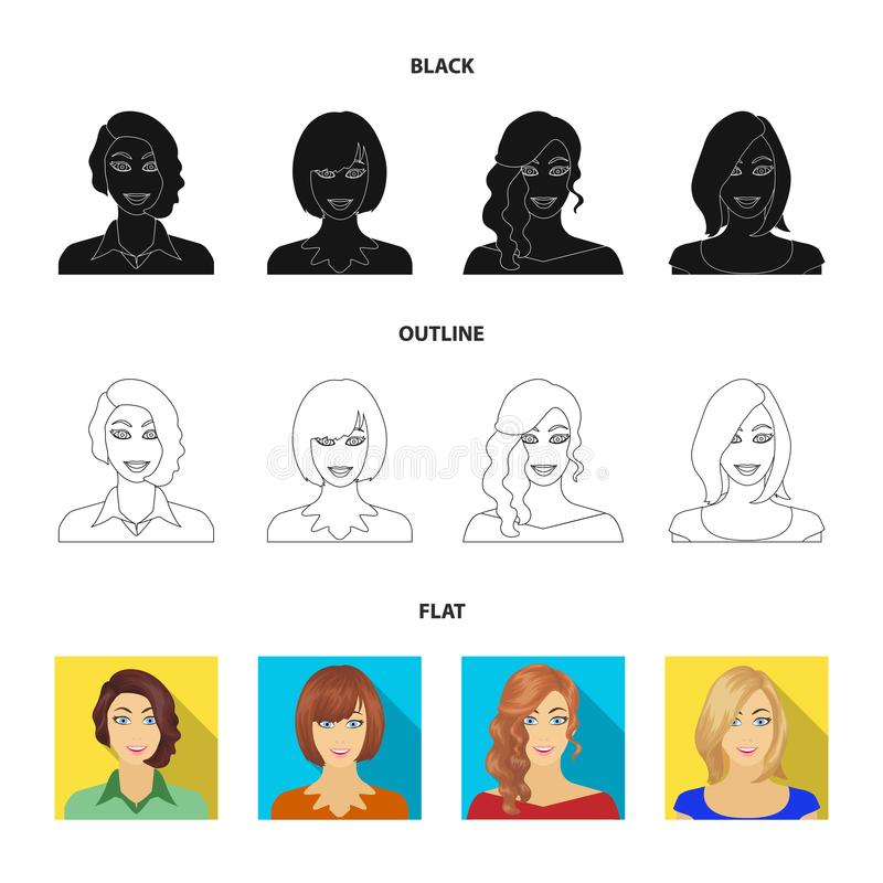 Возникновение женщины с hairdo, стороной девушки Сторона и значки собрания возникновения установленные в стиле шаржа бесплатная иллюстрация