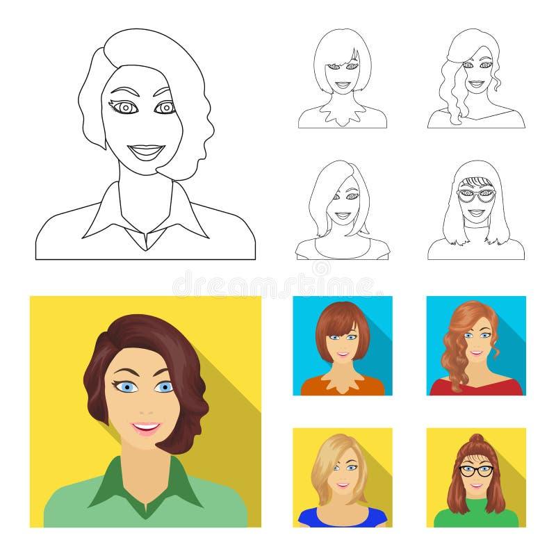 Возникновение женщины с hairdo, стороной девушки Сторона и значки собрания возникновения установленные в плане, плоском иллюстрация штока