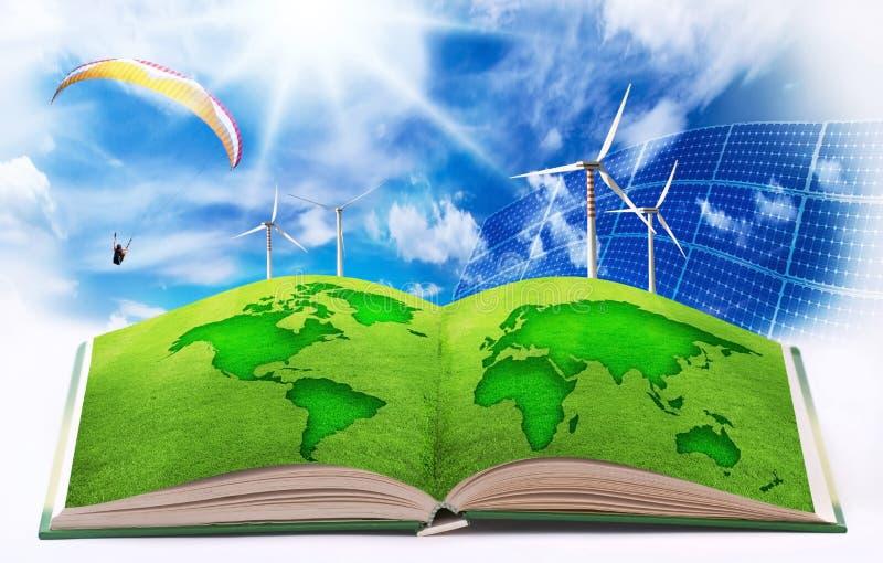 Возобновляющая энергия для чистого мира иллюстрация вектора