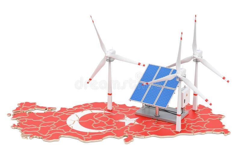 Возобновляющая энергия и устойчивое и сбалансированное развитие в Турции, концепция бесплатная иллюстрация