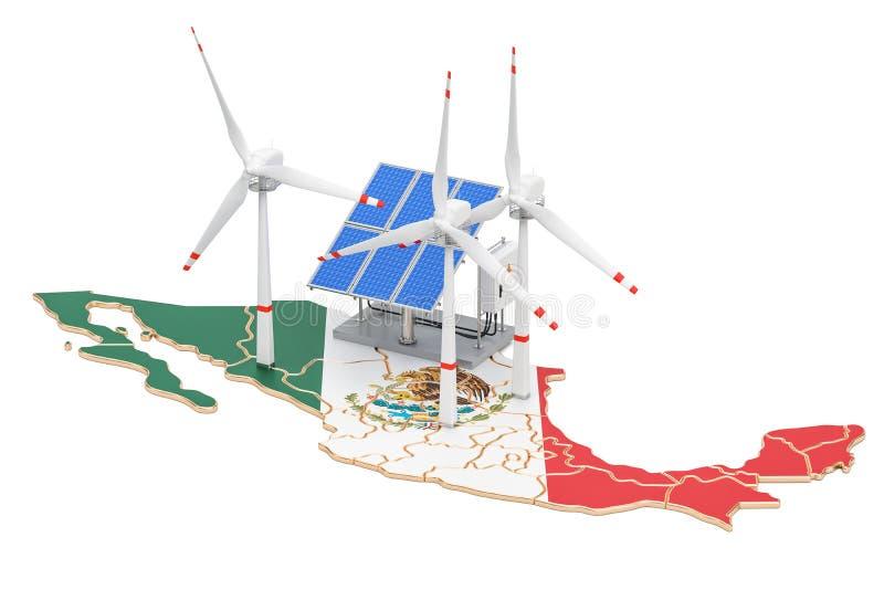 Возобновляющая энергия и устойчивое и сбалансированное развитие в Мексике, концепция бесплатная иллюстрация
