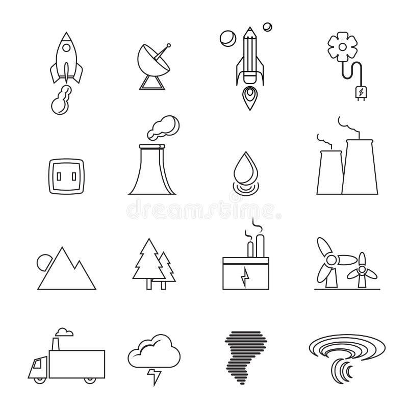 Возобновляющая энергия, зеленый цвет, eco, творческая линия установленные значки дизайна бесплатная иллюстрация