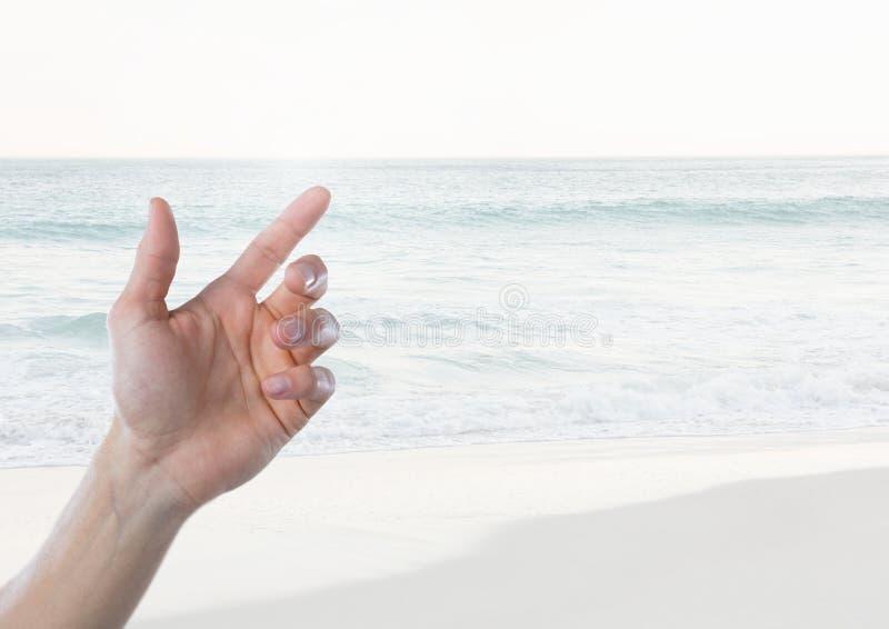 Воздух руки касающий с горизонтом моря стоковая фотография rf