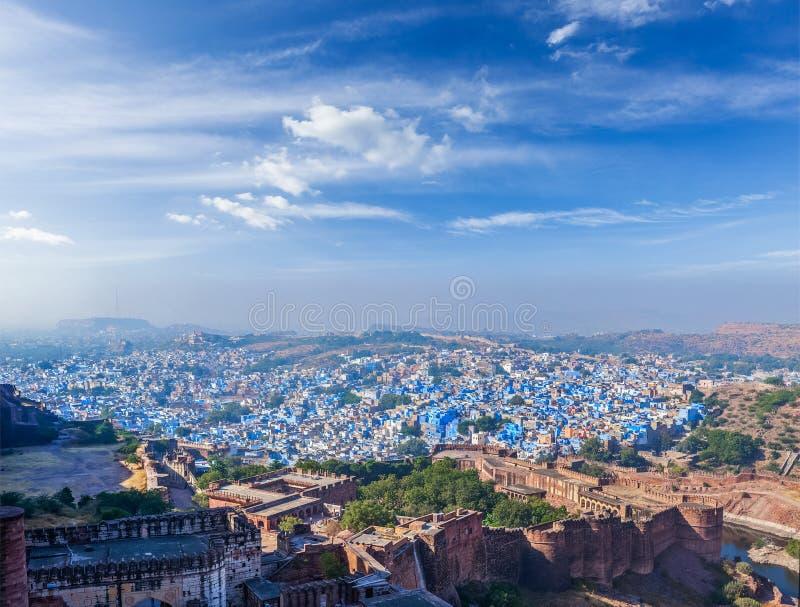 Воздушная панорама Джодхпура - голубого города, Индии стоковые изображения rf