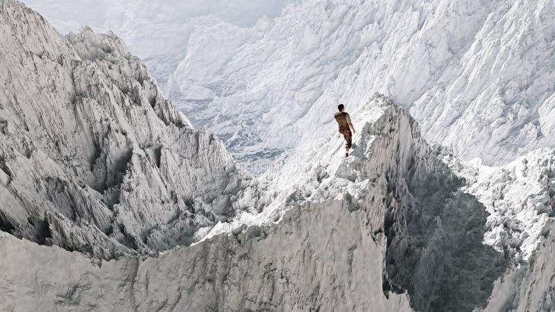 Воздушная перспектива hiker стоя на пике в снеге стоковые изображения rf