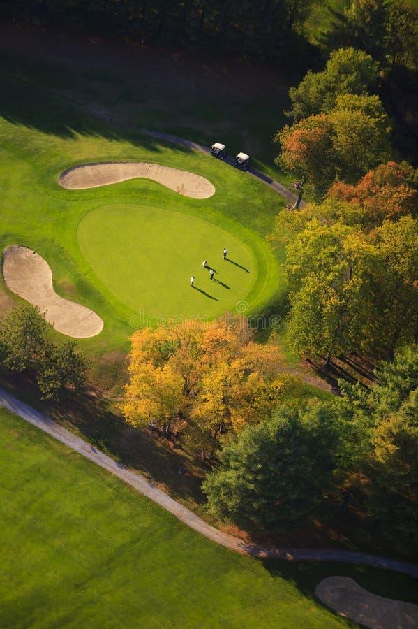 Воздушное изображение поля для гольфа. стоковые фото