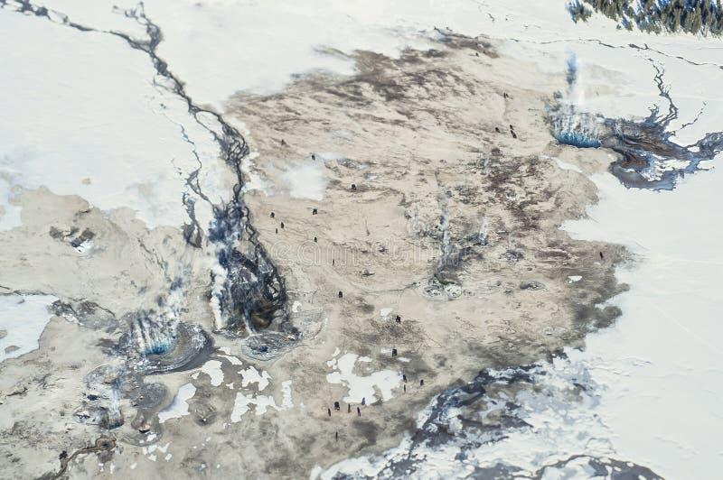 Воздушное фото парка Йеллоустона стоковые фотографии rf