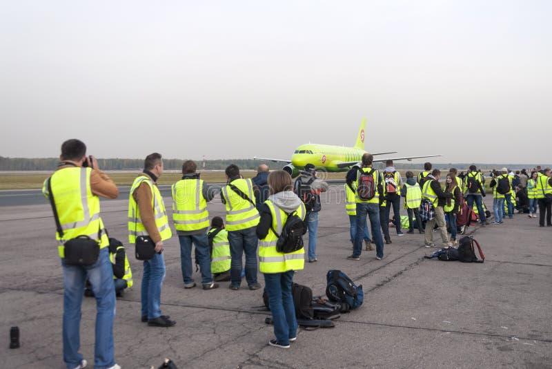 Воздушные судн Spotter сфотографированные во время такси стоковое изображение rf