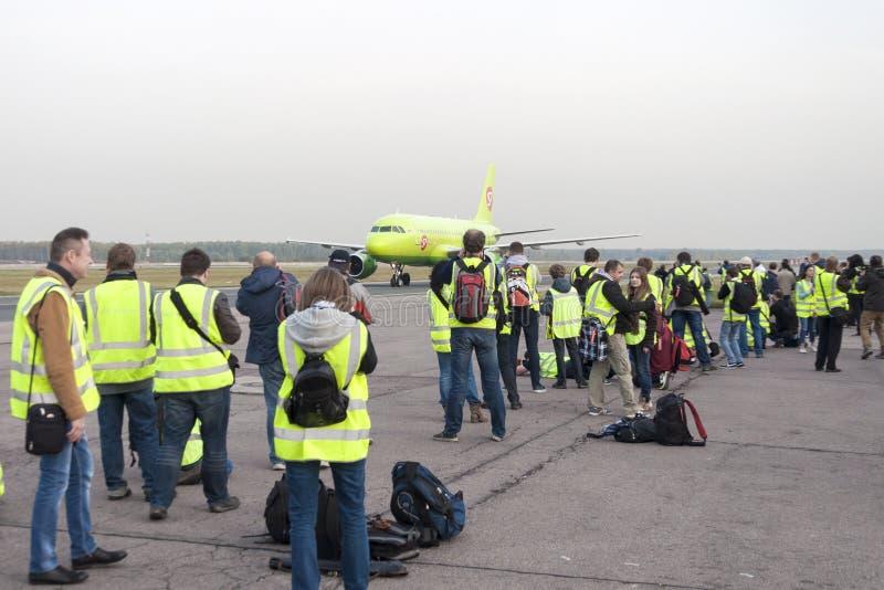 Воздушные судн Spotter сфотографированные во время такси стоковое фото