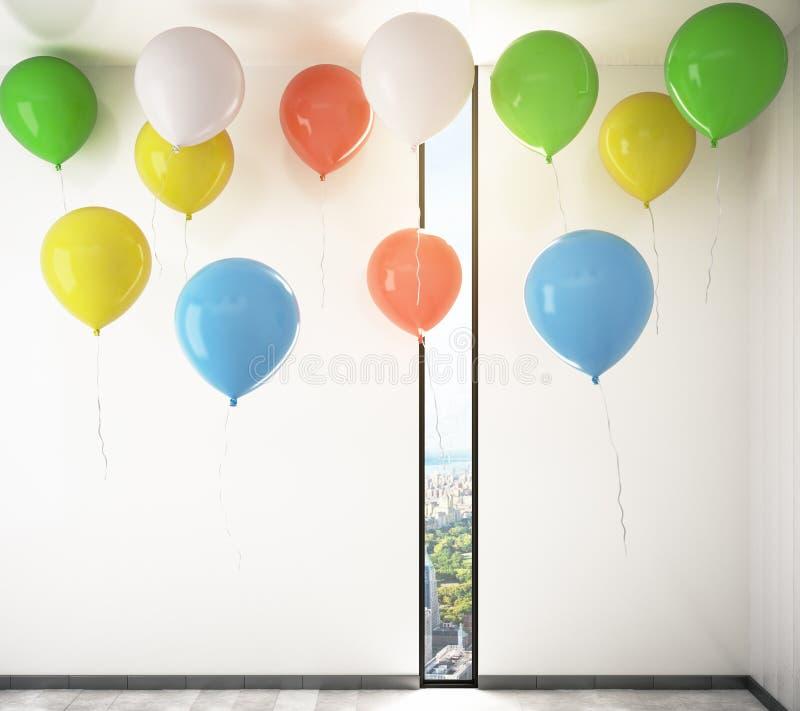 Воздушные шары в комнате бесплатная иллюстрация