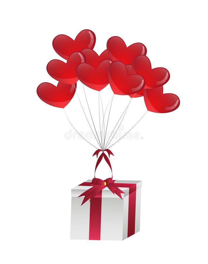 Воздушные шары влюбленности приносят подарок иллюстрация вектора