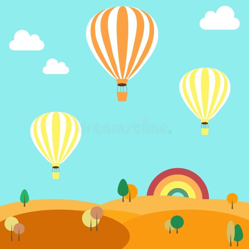 Воздушные шары летая над ландшафтом осени бесплатная иллюстрация