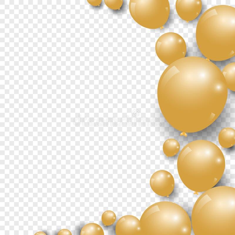 Воздушные шары золота торжества праздничные на прозрачной предпосылке иллюстрация штока