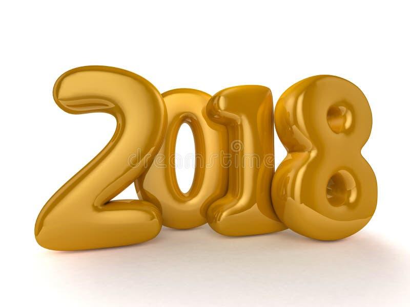 Download Воздушные шары игрушки на белой предпосылке Счастливый Новый Год 2018 Иллюстрация штока - иллюстрации: 98382129